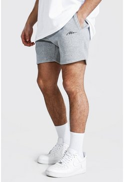 Grey marl Man Signature Short Length Slim Jersey Shorts