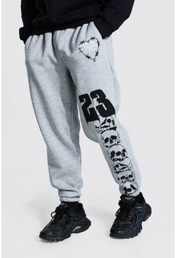 Grey marl Oversized Man Official Skull Joggers