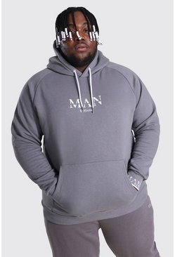 Dark grey Plus Size Man Roman Cuff Detail Hoodie