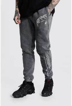 Grey Regular Graphic Print Acid Wash Joggers