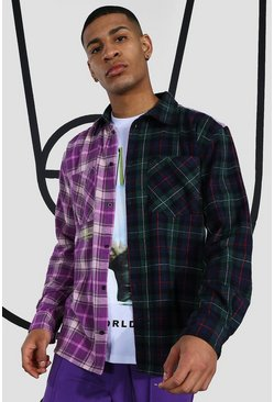 Multi Oversized Spliced Check Shirt With Embroidery