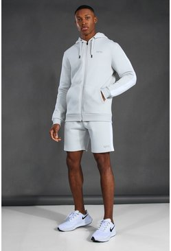Man Active Side Stripe Zip Through Short Set, Light grey