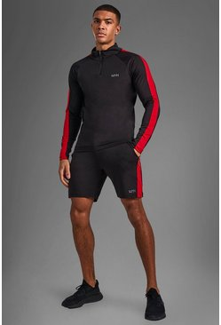 Man Active Side Stripe Funnel Neck Short Set, Black