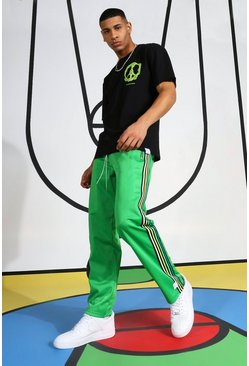 Green Tricot Jogger With Side Tape And Woven Tab