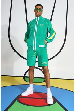 Green Velour Funnel Neck Short Tracksuit