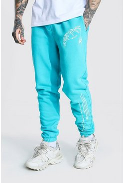 Blue Regular Graphic Print Overdye Joggers