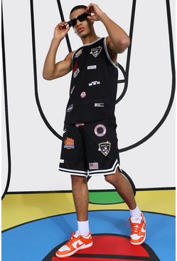 Multi Badge Mesh Basketball Set, Black