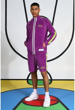 Purple Velour Funnel Neck Short Tracksuit