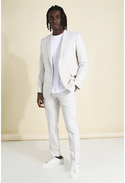 Ecru Skinny Plain Suit Trouser