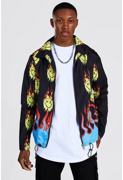 Black All Over Flames Drip Face Coach Jacket