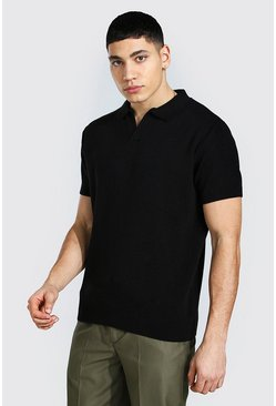 Black Short Sleeve Revere Collar Knitted Polo