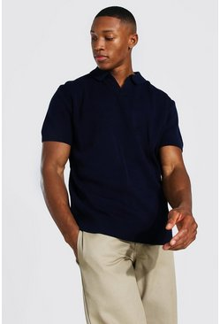 Navy Short Sleeve Revere Collar Knitted Polo