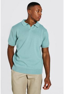 Sage Short Sleeve Revere Collar Knitted Polo