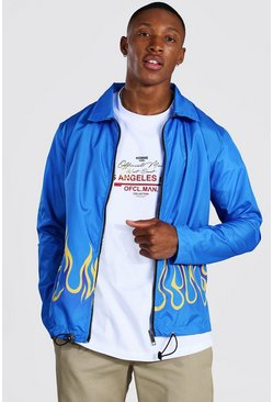 Blue Flames Coach Jacket