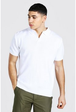 White Short Sleeve Revere Collar Knitted Polo