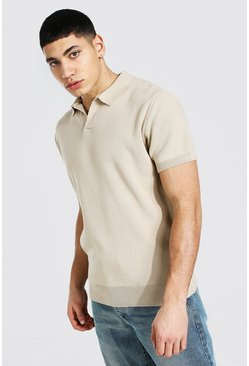 Stone Short Sleeve Revere Collar Knitted Polo