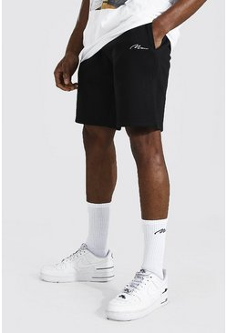 Black Man Signature Mid Length Regular Jersey Short