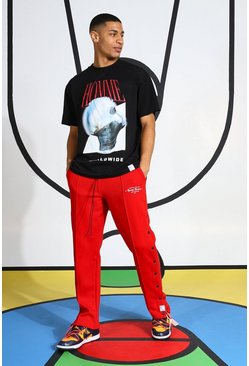 Red Homme Tracksuit With Popper Joggers