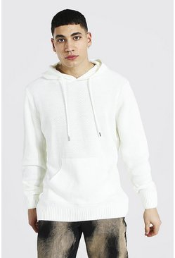 Cream Knitted Over The Head Hoodie