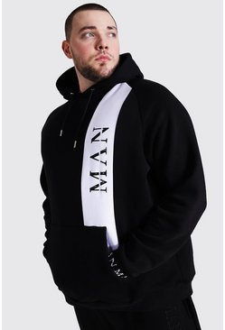 Black Plus Size Man Roman Colour Block Hoodie