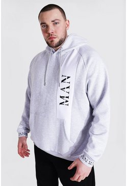 Ash grey Plus Size Man Roman Colour Block Hoodie
