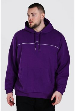 Plus Size Man Dash Hoodie With Piping, Purple