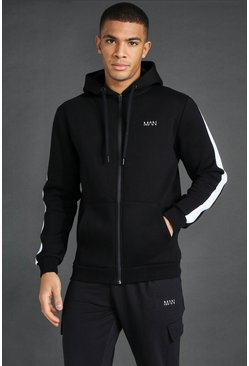 Man Active Oth Zip Through Side Stripe Hoodie, Black