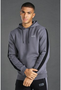 Charcoal Man Active Oth Side Stripe Hoodie