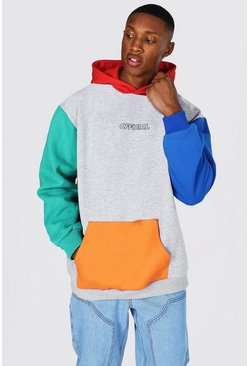 Grey marl Oversized Official Colour Block Hoodie