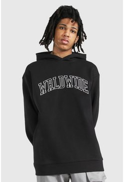 Black Tall Oversized Worldwide Hoodie
