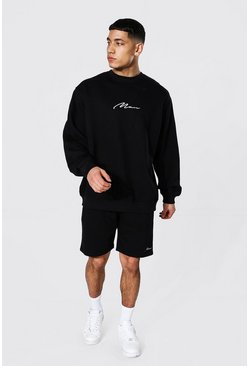 Oversized Man Signature Short Sweat Tracksuit, Black