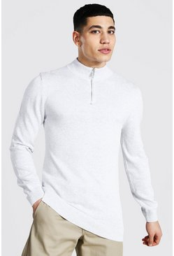 Grey marl Half Zip Funnel Neck Jumper