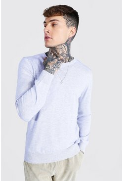 Grey marl Basic Crew Neck Knitted Sweater