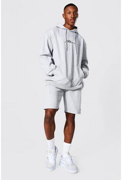 Oversized Man Signature Short Hood Tracksuit, Grey marl