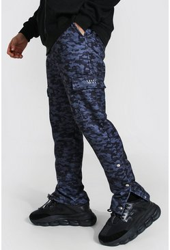 Black Man Slim Camo Cargo Popper Joggers