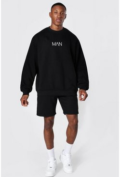 Oversized Original Man Short Sweat Tracksuit, Black