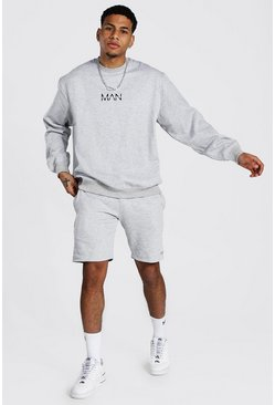 Sweat oversize et short - MAN, Grey marl