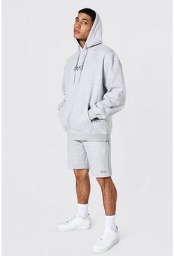 Oversized Original Man Short Hood Tracksuit, Grey marl