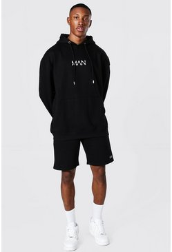 Oversized Original Man Short Hood Tracksuit, Black