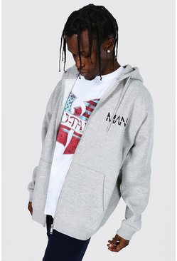 Grey marl Oversized Original Man Zipped Raglan Hoodie