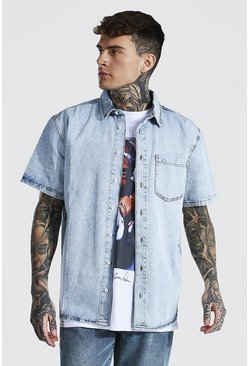Oversized Rigid Short Sleeve Denim Shirt, Ice blue
