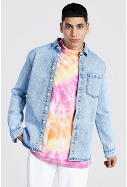 Regular Fit Long Sleeve Stretch Denim Shirt, Ice blue