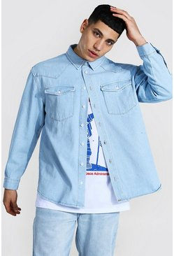 Light blue Oversized Rigid Western Denim Shirt