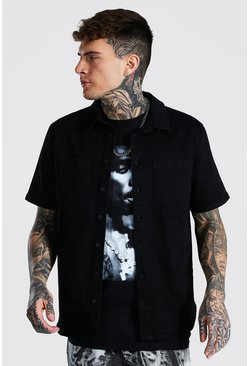 Regular Fit Short Sleeve Stretch Denim Shirt, True black