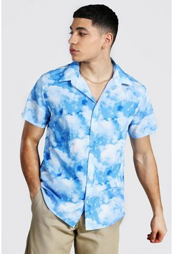 Lilac Short Sleeve Cloud Print Shirt