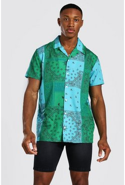 Teal Short Sleeve Bandana Shirt