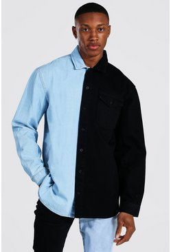 Black Oversized Rigid Long Sleeve Spliced Denim Shirt