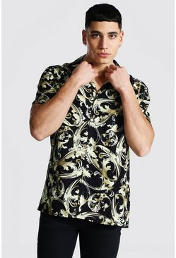 Black Short Sleeve Baroque Viscose  Shirt
