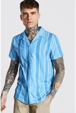 Powder blue Short Sleeve Revere Striped Shirt
