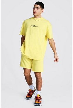 Oversized Man T-shirt And Short Set, Yellow